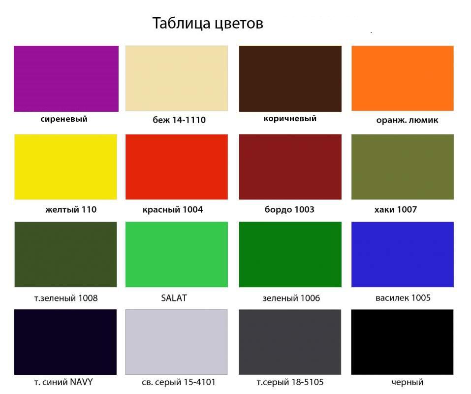 Таблица цветовой гаммы